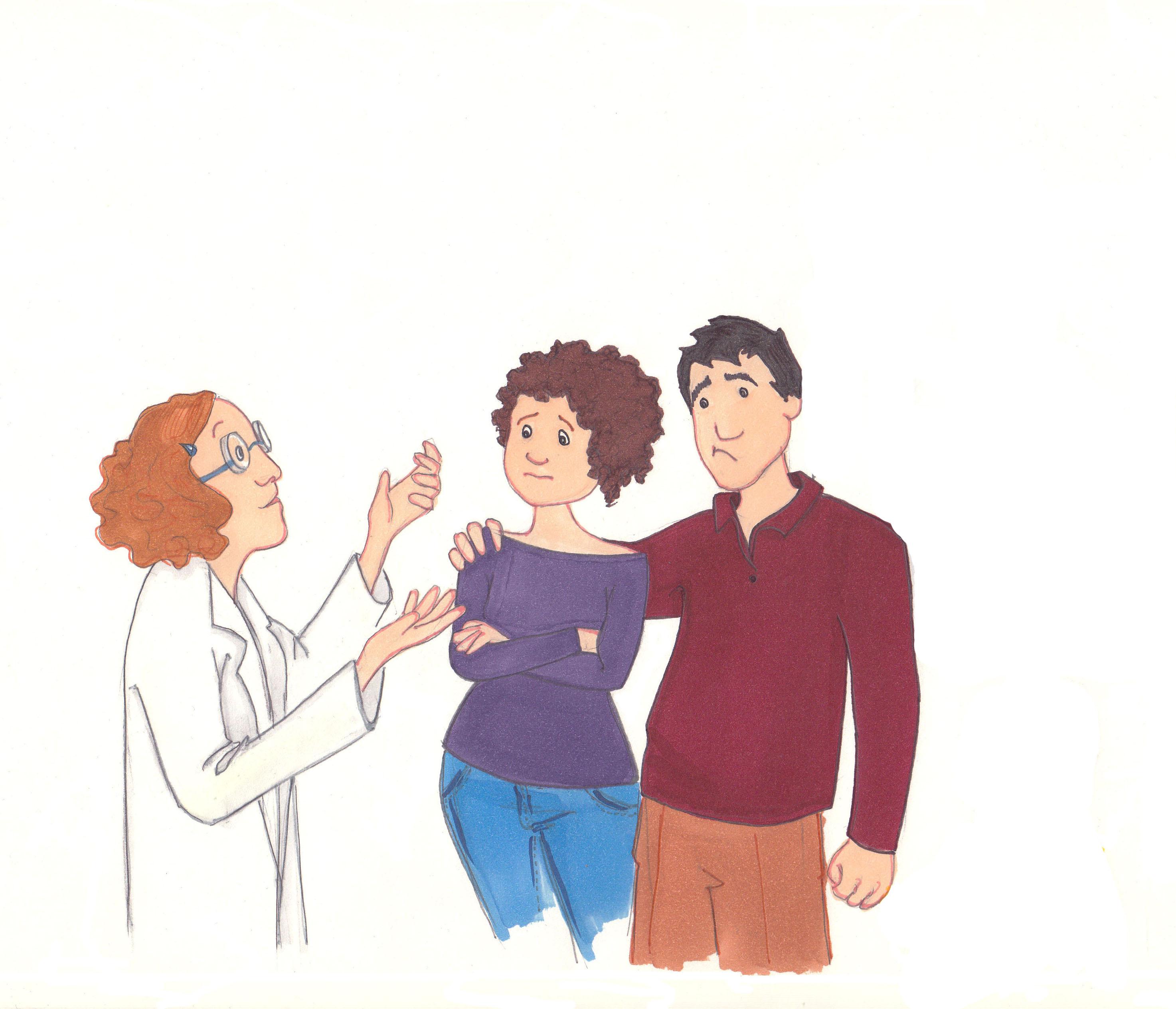 La doctora explica a esta familia en qué consiste la enfermedad de Alzheimer..